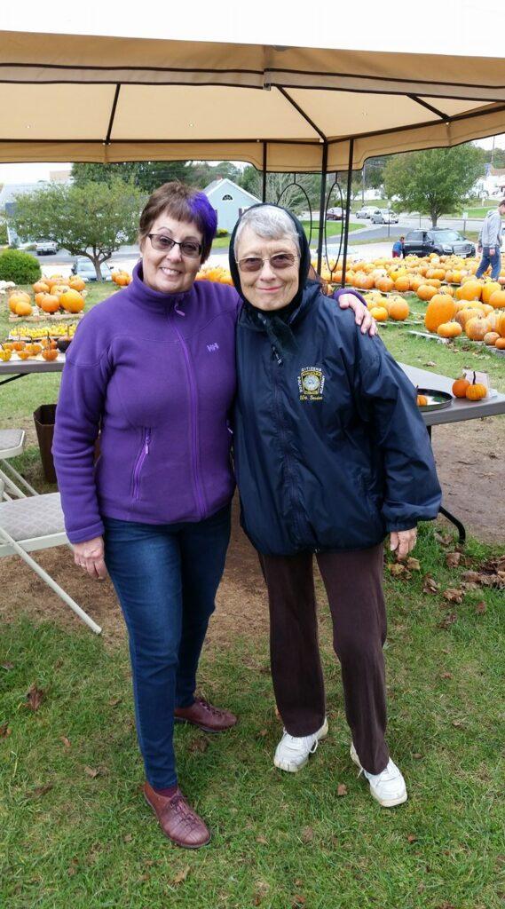 linda and lolita at the pumpkin patch