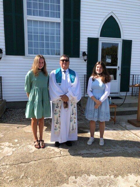Molly , Pastor Chuck, and Calla at Molly and Calla's 2020 Confirmation